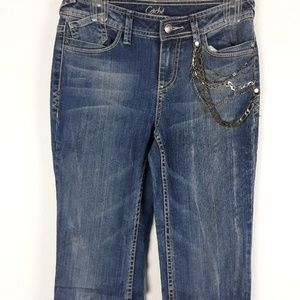 CACHE EMBELLISHED WITH CHAINS BOOTCUT JEANS SIZE 2